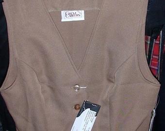 VTG Antique 1970s Polyester RETRO-MOD Vest. Bone Beige, X small Womens, mint condition