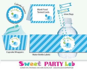 Elephant Baby shower Boy Party Set,  It's a Boy Baby Shower Party Set,  Pack  A Instant download D048