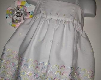 White Wedding Flower Girl Boutique Summer Sun Dress! Optional Bow Available! Girls Easter Dress Communion Baptism Birthday