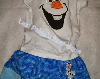 Frozen Olaf Snowman Snow Man Blue Skirt and T-Shirt Outfit Set Girl Boutique Optional Bow Available! Do You Want to Build a Snowman