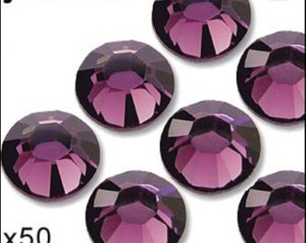 1 pack of 50 amethyst diamante. Hot fix. Size 5mm/ss20. JR02315