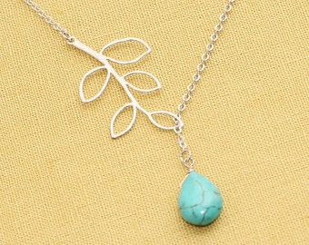 Rhodium Plated, Simple Leaf Branch with Turquoise Teardrop Stone Droplet, Necklace
