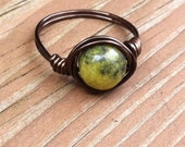 African Jade Copper Wire Ring, Large Jade Stone Wire Wrapped Ring, Yellow and Green Smooth Natural Ring, Hippie Rings