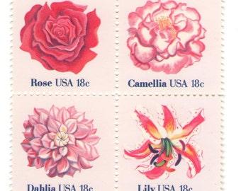 12 Unused 1981 Pink Flower Stamps - Vintage Postage Stamps Number 1876 - 1879