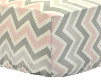 Pink & Gray Chevron Crib Sheet for Girls | Zig Zag Pink and Gray