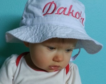 Baby Sun Hat/ Bucket Cap with Personalized Embroidery
