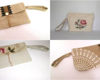 Wide wristlet addition - add a wide linen wristlet to your pouch or envelope clutch, bridesmaid gift bag, wedding bag