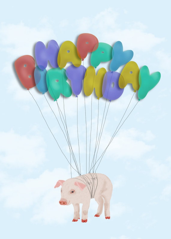 Items similar to Pig Flying with Balloons Happy Birthday ...