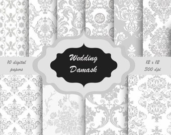 Grey wedding damask floral pattern Digital Paper Pack -  Flower damask background for scrapbooking, wedding invitations - white and grey