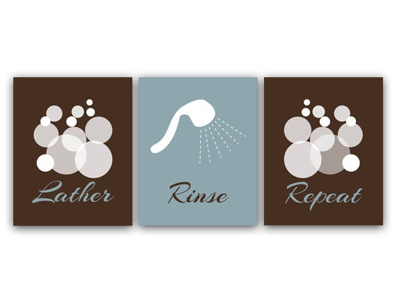 bathroom wall art prints or canvas lather rinse repeat slate brown