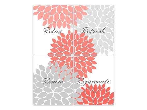 Bathroom Wall Art Relax : Bathroom wall art relax refresh renew rejuvenate coral and
