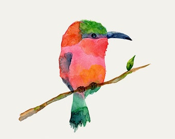 Carmine bee-eater bird Watercolor Painting Print 5X7