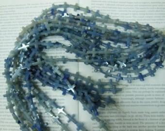 Blue aventurine cross beads semi precious cross beads, 16mm, 22pcs