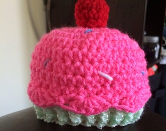 Newborn hat with sprinkles and a cherry on top