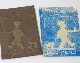"Vintage ""Merry Christmas"" linoleum printing cut, circa 1940s"