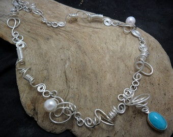 Sterling silver set with an amazonite and adorned with pearls necklace