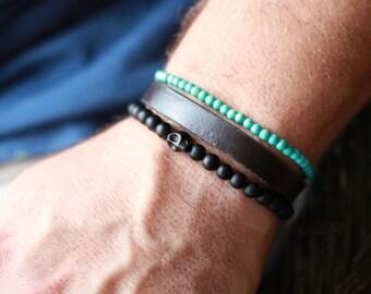 4MM Designer Gem Stone Bracelet - Mens Turquoise Bracelet - Beaded men Bracelet