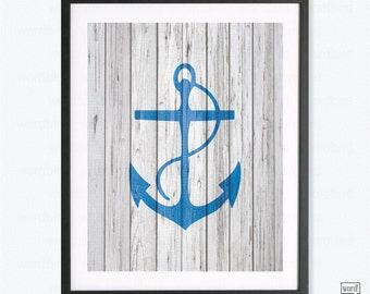 Navy Blue Anchor Wall Decor Rustic Nautical Wall Decor Bobalt Indigo Azure  Print Bathroom Decor Nautical Decor