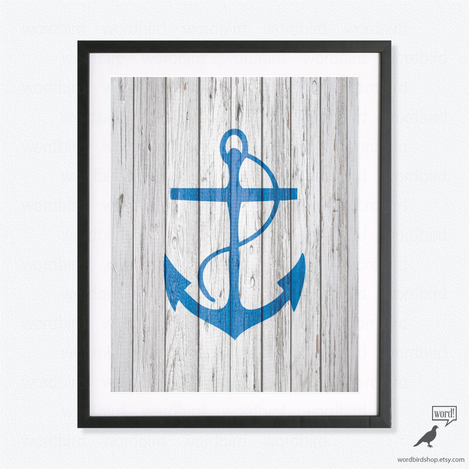 Nautical Bathroom Wall Decor : Navy blue anchor wall decor rustic nautical bobalt