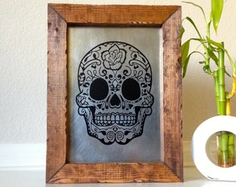 Handmade Sugar Skull Wall Art Sugar Skull Art de los muertos Skull Art Wall Sign