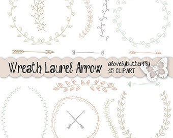 Hand draw wreath laurel clipart, wedding invitation digital, vintage bridal clipart, watercolor clipart, INSTANT DOWNLOAD