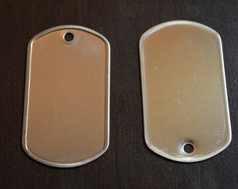 100 Blank Dog Tags Dogtag Blanks Matte or Shiny Military Dog Tag Stainless Steel Rolled Edge Army Style Party Favor Emboss or Engrave