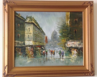 Vintage Springtime in Paris Oil Painting in Gold Frame