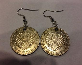 Austria 10 Shillings Coin Earrings