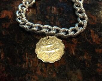 Bahamas 10 cents coin bracelet