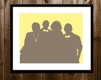 Kids Custom Silhouette Portrait from your Photo, Family Silhouette Wall Art, Mother's Day Gift Silhouette Print, Children Silhouette Print