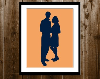 Custom Couple Silhouette, Engagement Silhouette, Save the Date Silhouette Portrait from your Photo, Bridal Shower Gift, Custom Silhouette