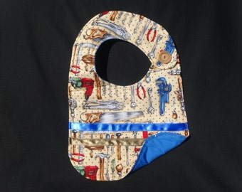 Toddler Boy Bib /Tool Time 3 / 10 x 14 / boy/ tools / blue / red/ black / brown / hammer / saw/ wrench