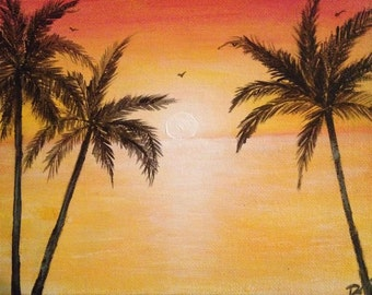 palm tree painting, beach painting, sunset painting, sunset, palm trees