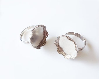 5 Silver Tone Brass Adjustable Ring Base Blank Findings with 18mm Round Pad Cameo Setting