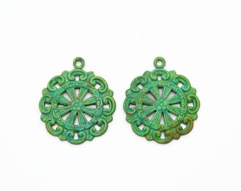 Hand Patina Brass Pendants Charms, 2pc