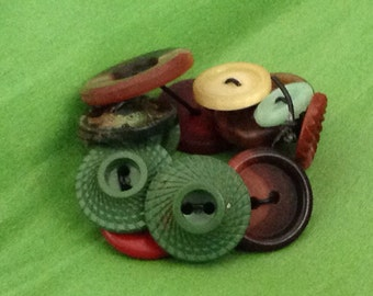 Vintage Button Bracelet Green Brown