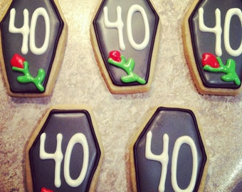 40th Birthday Cookies: 1 Dozen