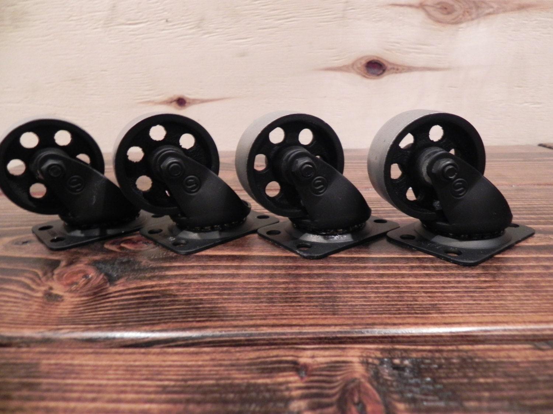 Roulettes Roues 2 Rustique Industriel En Acier Lot De 4