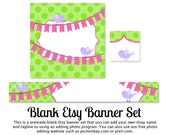 BLANK Etsy Banner Set - Birds On Bunting Flags Etsy Banner Set - Etsy shop banner set - DIY
