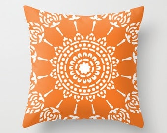 Geometric Mandala Pillow Cover - Tangerine Orange -  Modern Home Decor - By Aldari Home