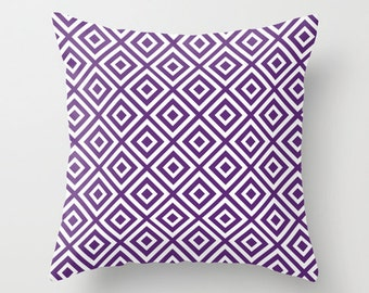Diamond Pattern Geometric Pillow Cover - Purple Violet -  Modern Throw Pillow - Home Decor - includes insert