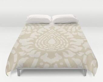Abstract Flower Duvet Cover - Modern - Tan Beige - Queen Size Duvet Cover - King Size Duvet Cover