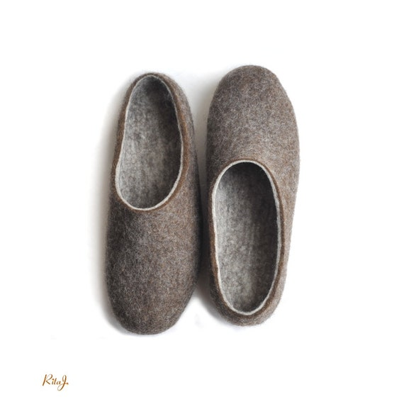 Eco Friendly Slippers: Handmade Eco Friendly Felted Slippers With Soles Ecofriendly