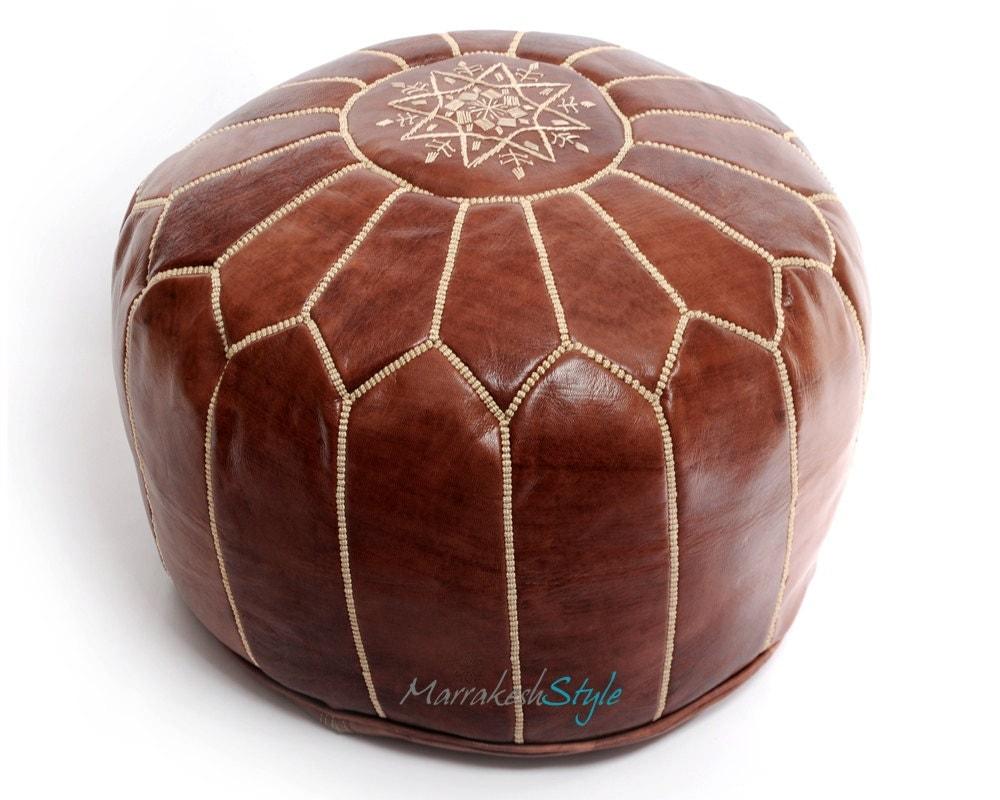 Moroccan Leather Pouf Dark Tan Leather Pouf By Marrakeshstyle