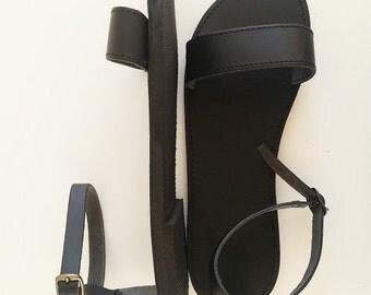 Open Toe Summer Flat Sandals - Black Greek Women Leather Sandals