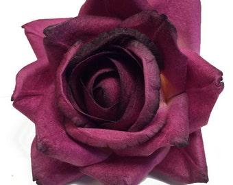 Handmade Paper/Parchment Roses - Burgundy - 12 roses per bag