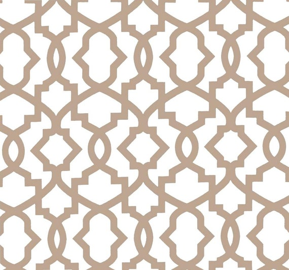 Modern Tan Geometric Fabric Home Dcor Fabric by by