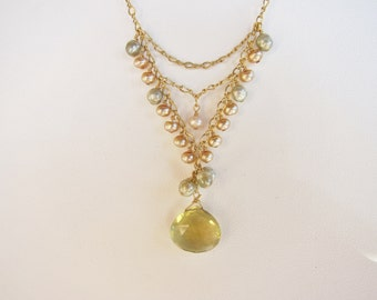 Whiskey Quartz Pendant and Pearl Handmade Necklace with 14K Gold Filled Chain