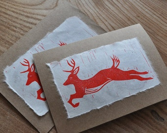 "Hand-printed ""Ol' Buck"" linocut greeting cards"