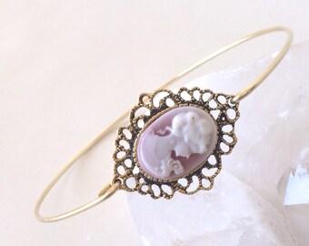 Cameo Bangle Bracelet, Mauve, Pink, Gold layering bracelet, stack bangle,